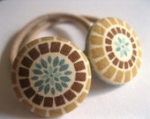 Ponytail holders : Set of Two Covered Button Pony Elastics - Brown Khaki Aqua Deco Posies - Rotifera