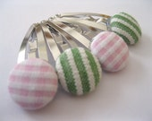 Easter Pink and Green Gingham Hair Accessories -  Snap Hair Clips : Funky Hair Barrettes - Set of four Button Hair Clips