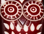 Carved Owl Drawer Pull Cabinet / Furniture KNOB handle Red HOOT