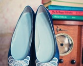 Satin wedding shoes ballet flats with vintage lace on toe and heel