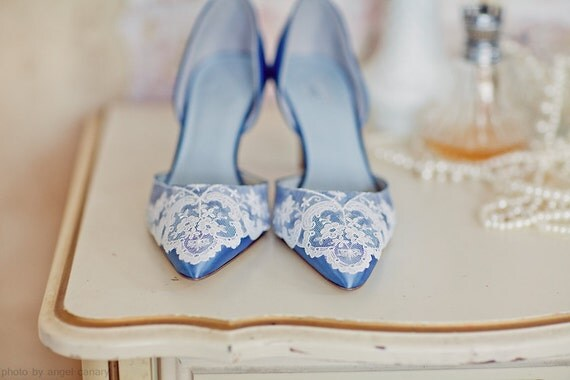 Something Blue satin wedding shoes d'orsay with vintage lace on toe and heel
