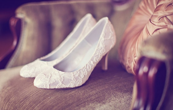 Satin wedding shoes high heel pump wrapped in ivory French lace
