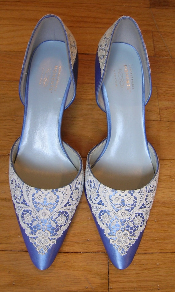 Ready to Ship Size 8 French Blue satin wedding shoes with vintage lace on toe and heel