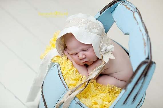 Vintage Inspired Newborn Pure Linen Baby Bonnet Natural Linen Lace Sari Silk Flower Handmade OOAK Made to Order Photography Prop