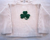 Christmas Holiday Present St Patricks Day Baby Sweater Chunky Knit Washable Cashmere Blend. Hood. Handmade Crochet Applique; Elmo, Shamrock