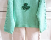 Cyber Monday, Christmas, Holiday SALE. Baby Toddler Chunky Knit Hooded Sweater. WASHABLE Cashmere. Superb Quality Present Crochet Shamrock