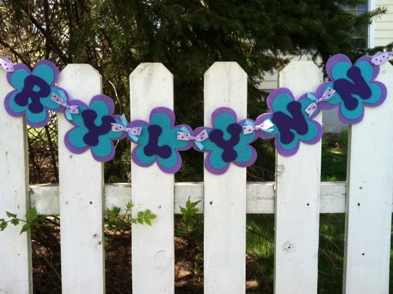 Personalized Felt Name Banner to coordinate with NoJo Harmony Baby Bedding