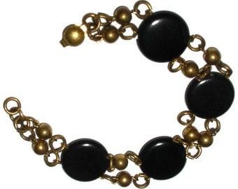 Wonderful  Gold Bead and Black Circles Vintage Bracelet