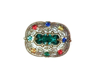 Vintage Pin with Multicolored Stones