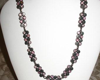 Sparkling Pink Rhinestone Pewter Vintage Necklace