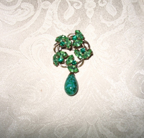 Vintage Pin with Green Rhinestones and Green Faux Malachite Drop