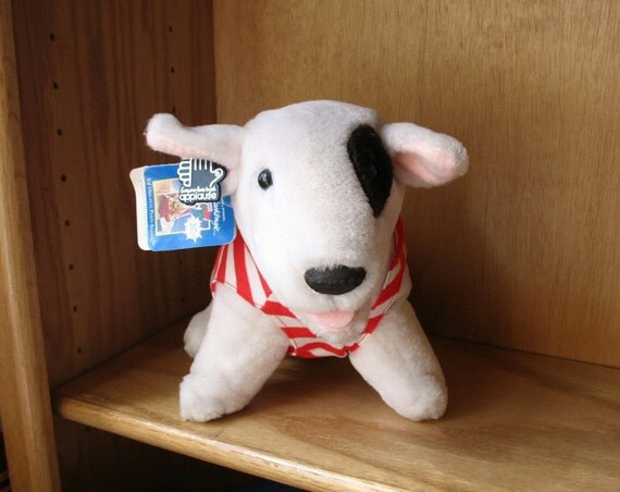 SPUDS MACKENZIE 1988 Stuffed Toy Red and White Striped Outift