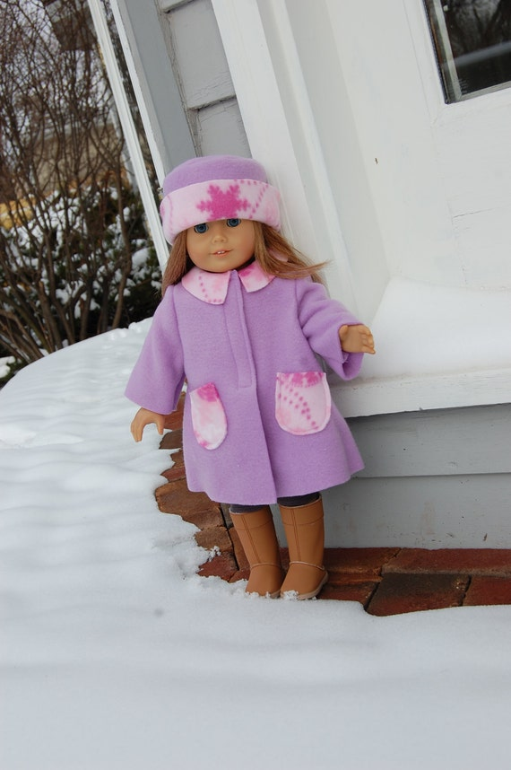 SALE........Made to fit American Girl / Bitty Baby - Fleece Coat with matching Hat - Ready to Ship 18 inch doll