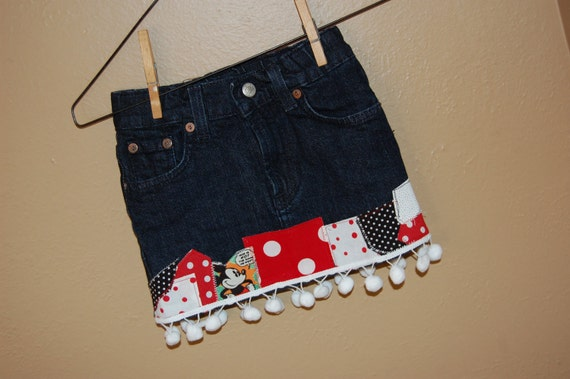 Disney Themed upcycled denim skirt - size 4, 4T - ready to ship - decoupage