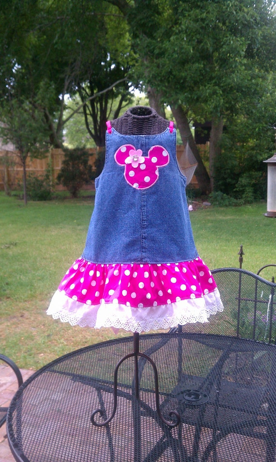 3t - upcycled overalls / jumper - Mickey / Minnie theme - ready to ship