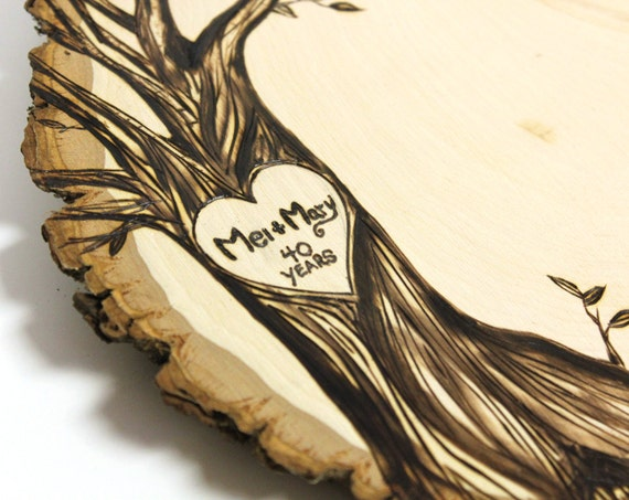 Anniversary Design: Wood slice rustic theme guest books. Personalized