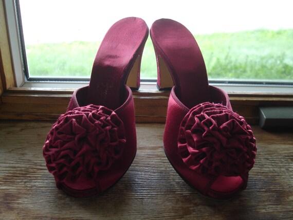Red Rosette Shoes / Satin Boudoir Slippers