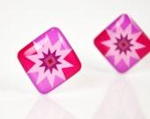 ON SALE - Purple Amethyst Diamond Astro Post Earrings - Hypoallergenic Surgical Stainless Steel Posts