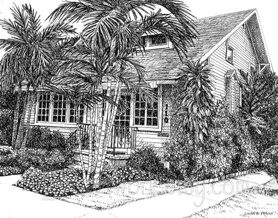 Items Similar To Original Drawing Quot Cottage In The Tropics