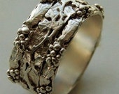 Sterling Silver  Vine Leaf Grape Cluster Ring organic  ring - wedding ring -hand engraved- size 6 1/2 Treasury Item X 3