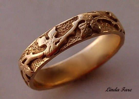14k  gold handcrafted  vine leaf ring, wedding ring natural organic design hand engraved stock size 6 1/2 -all sizes available treasury item