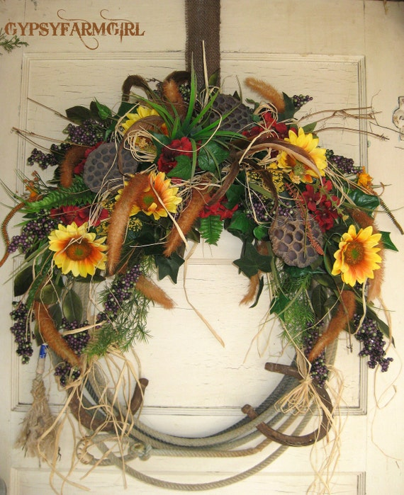 Western Decor On Sale: Rope Wreath With Horseshoes Cowboy Western Home Decor On