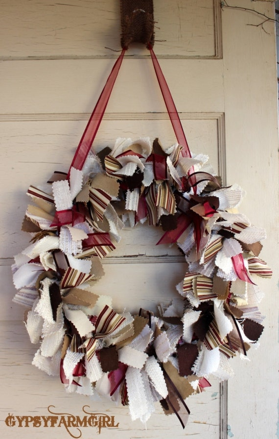 Ribbon Rag Wreath with Cream, Burgundy, Brown, Tan, and Gold Material and Ribbon -  Rustic Rag Wreath