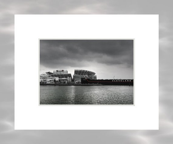 Cleveland Browns Stadium From The Inner Harbor  - 5x7 Matted Cleveland Ohio Art Print by Kenneth Krolikowski - Free Shipping
