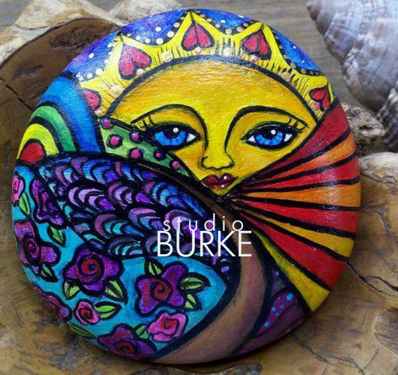 Items similar to love and happiness collectible colorful - Painting rocks for garden what kind of paint ...