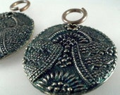 Set of 2 Egyptian Revival Art Deco Design Bronze 1 Inch Focal  Peacock Indigo Blue Patina with jump ring
