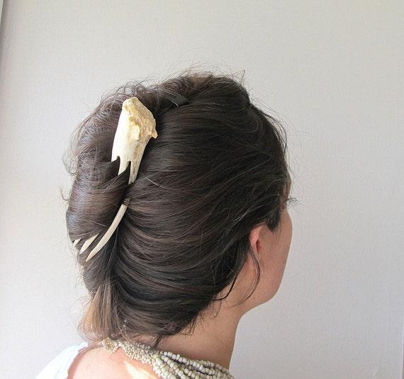 Antler Hair Fork Unusual Tribal Bohemian Statement Hair Accessory White Deer Horn Comb