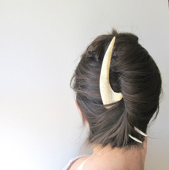 Unusual Hair Fork Deer Antler Statement Hair Piece White