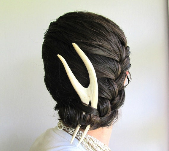 Tribal Fashion Forked Deer Antler Hair Piece Bohemian Hair Comb Fork