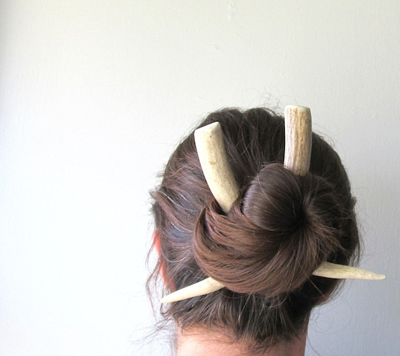Large Deer Antler Horn Hair Sticks Tusk Wearable Taxidermy Long Hair Accessory