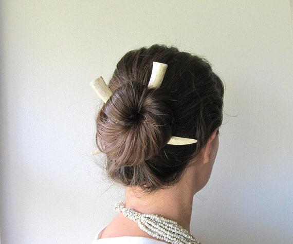 Deer Horn Antler Hair Sticks Unusual Tribal Boho Gothic Hair Accessory