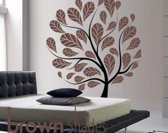 Brown Leaves : Contemporary Tree Designed Removable Wall Vinyl