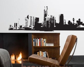 NEW :  Beautiful and Detailed Line of Cityscape Wall Vinyl Decal - Removable Vinyl Decal