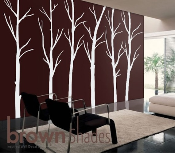 Items similar to Wall Decal :Winter Tree Forest - Nature Wall Vinyl Set,  Wall Decor Decal on Etsy