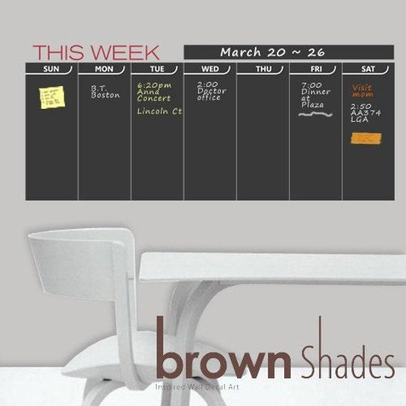 Chalkboard Calendar Organizer : Weekly planner deals on blocks