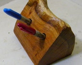 A 2 Hole Cherry Wood Pen Holder : Nature's Own - Reclaimed Wood - A Natural Wedding Pen Holder or A Great Gift Idea