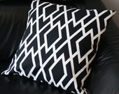 Reserved - Two Decorative Pillow Covers - Black and White Diamond Print - 25X25 - Duralee