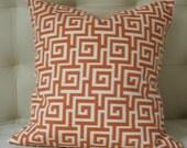 Two Decorative Pillow Covers 20X20 - Print on BOTH SIDES - Maze Greek Key Pillow - Orange Pillow