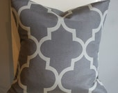 Reserved - Two Decorative Lattice Designer Pillow Covers - Grey Lattice - 18X18 - Print on Both Sides