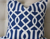 Decorative Pillow Cover - Trellis Pillow - Navy Pillow - 18X18 or 20X20