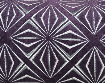 Geometric Purple Pillow Covers - Cha Cha Print with Purple Background and Silver Design - 20X20
