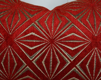 Two, Chenille Pillow Cover - Red Pillow - Cha Cha Print in Red with Metallic Bronze Print - 20X20