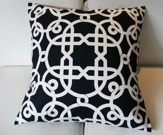 Decorative Black-Off-white Geometric Pillow Cover - 18X18 - Alexander Henry - Palazzo