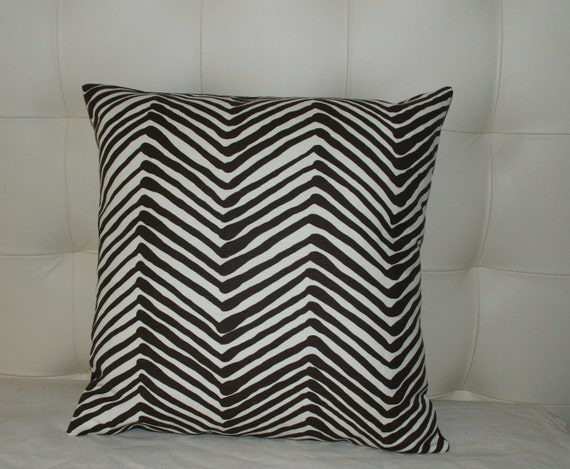 Set of TWO China Seas Decorative Pillow Covers - 18X18 or 20X20 - Chocolate on Tint Zig Zag Print