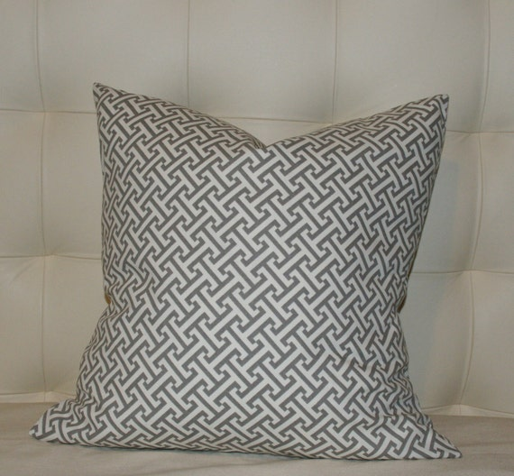 Decorative Pillow Cover - Greek Key Gray/Taupe - 20X20 - Pattern on Both Sides