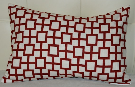 Red Geometric Pillow Cover - Geometric Print in Rich red with Off-white Background -12X18 - Red pillow
